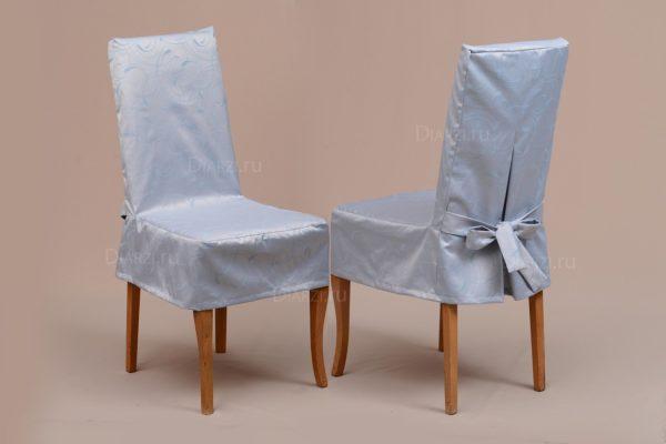 Серый чехол на стул из ткани Ричард