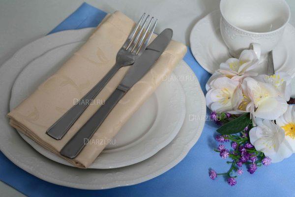 Салфетки на стол бежевые ткань Журавинка