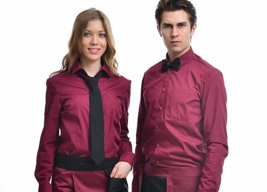Рубашки для официантов бордовые